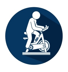 spinning bike fitness silhouette vector image