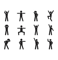 Stick figure posture icons vector