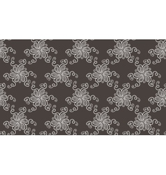 Tender elegant white flower pattern on dark grey vector