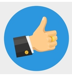thumb up flat color icon vector image vector image