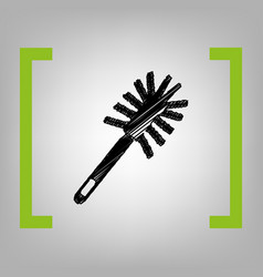 toilet brush doodle black scribble icon vector image