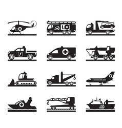 Vehicles for accidents and emergencies vector image