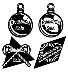 Vintage Christmas sale emblems vector image