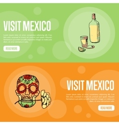Visit mexico touristic web banners vector