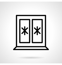 Window with snowflakes black line icon vector