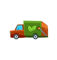 Orange garbage truck toy cute car icon vector