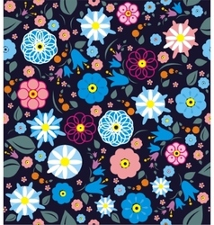 A seamless pattern with blue pink purple flowers vector image