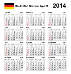 Calendar 2014 german type 21 vector