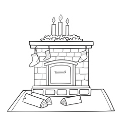 Christmas card with fireplace decorated socks for vector