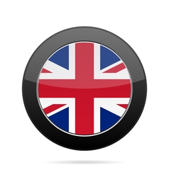 Flag - united kingdom shiny black round button vector