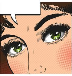 close up view eyes woman pop art retro vector image