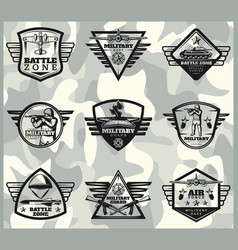 black vintage military labels set vector image