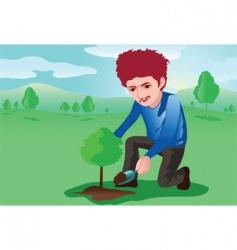 Tree planter vector