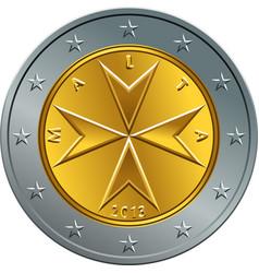 Maltese money gold euro coin two euro vector