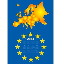 2014 calendar with europe map vector image vector image