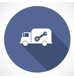 Truck with wrench and nut icon vector