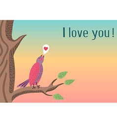 Cute romantic background with bird vector