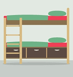 Side view of bunk bed on floor vector