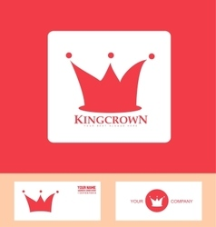 Crown logo red icon set vector
