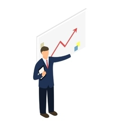 Isometric man with chart vector
