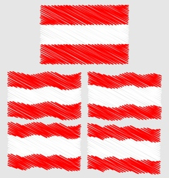 Flat and Waving Hand Draw Sketch Flag of Austria vector image