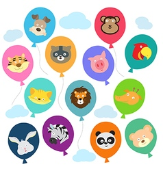 Cute animal balloons vector