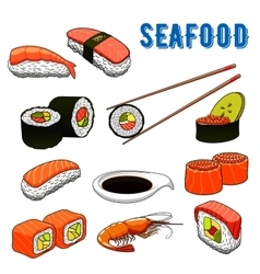 Appetizing japanese sushi and rolls seafood vector