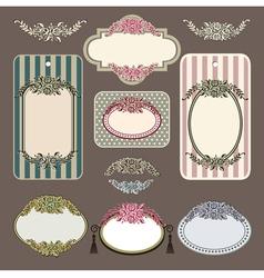 Set of retro roses vintage labels vector image
