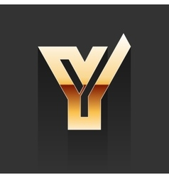 Gold letter y shape logo element vector