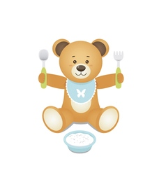 Bear with fork and spoon in hands and with a plate vector