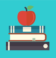 books with apple flat icon vector image vector image
