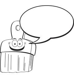 Cartoon paint brush with a caption balloon vector