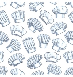 Chef toques caps and hats seamless background vector