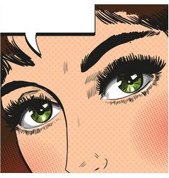 Close up view eyes woman pop art retro vector