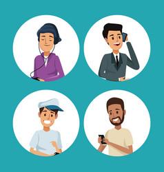 Color background with circular frame men social vector