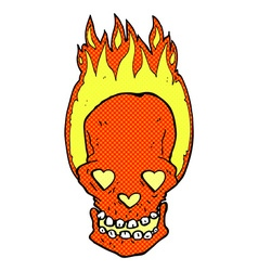 Comic cartoon flaming skull with love heart eyes vector
