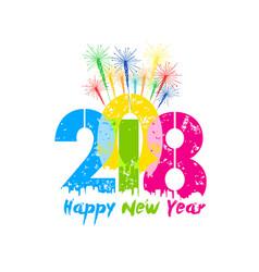 creative happy new year 2018 greeting design vector image