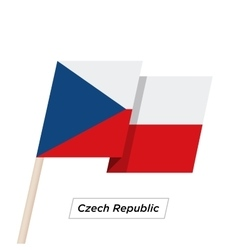 Czech republic ribbon waving flag isolated on vector