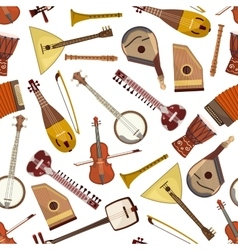Ethnic musical instrument seamless pattern vector