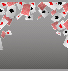 falling playing cards isolate template for vector image