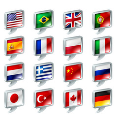Flag speech bubble icons buttons vector