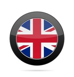 Flag - United Kingdom Shiny black round button vector image
