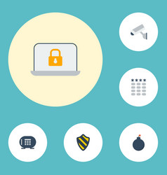 Flat icons safe shield keypad and other vector