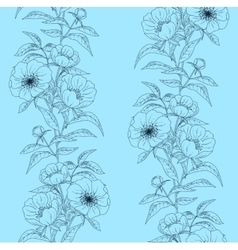 Floral seamless pattern with peonies on blue vector image vector image