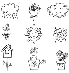 Flower doodles set vector