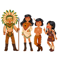 Group of native american indians in costume vector image vector image