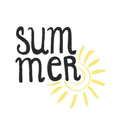 Hand drawn lettering - summer vector