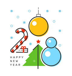 happy 2018 new year flat thin line vertical color vector image
