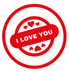 i love you stamp seal rounded icon vector image