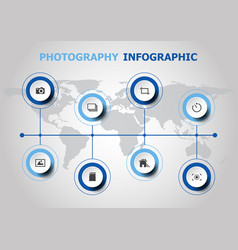 Infographic design with photography icons vector